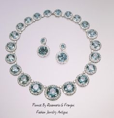Platinum Necklace with Blue Zircons and Diamonds. De Sedies Earrings, 1936 | Fashion Jewelry Antique | Rosamaria G Frangini