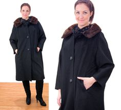 Be My Baby 60s Coat Black Wool Coat With Mink by MorningGlorious