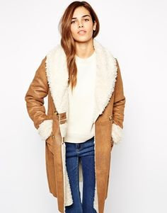 Suede and sherling (sheep skin) winter coat: