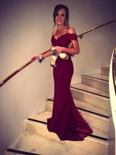 BURGUNDY LONG PROM DRESS 2016, OFF THE SHOULDER LACE PROM DRESSES