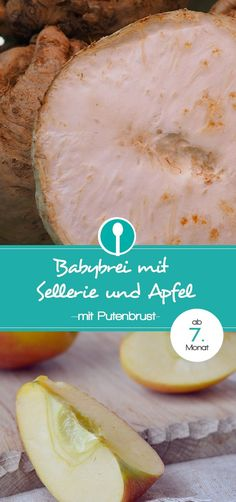 Babybrei mit Sellerie, Apfel und Putenbrust. Mittagsbrei Rezept für Babys ab dem 7. Monat mit Fleisch.