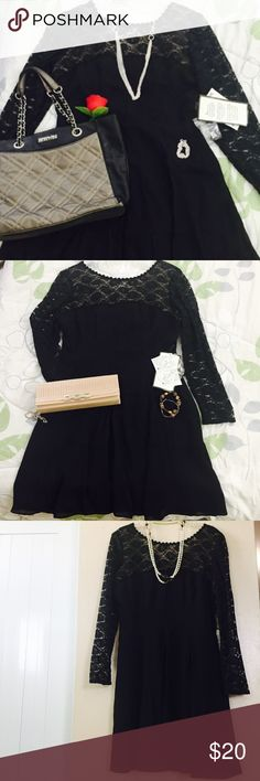 💜black dress for any occasion Beautiful black dress for any occasion. New with tags. You can combine the dress with any accessories for dress or casual look. Great fabric great quality Accessories include in photos are on sale in my closet. Check it out 😀👍 Dresses