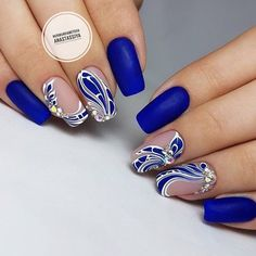 Blue coffin nails designs are so perfect for 2019 spring and summer! Hope they can inspire you and read the article to get the gallery. Nägel Ideen mit Edelsteinen 55 Trending Blue Coffin Nails Designs For You In 2019 Spring And Summer - Nail Art Connect Blue Coffin Nails, Blue Nails, Nail Art Hacks, Nail Art Diy, Nail Designs Spring, Nail Art Designs, Hair And Nails, My Nails, Cute Spring Nails