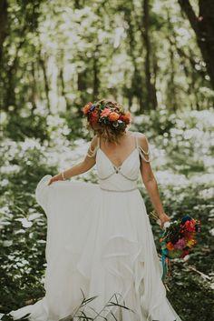 Bright blooms + sparkly embellished wedding dress | Image by Hinterland Stills