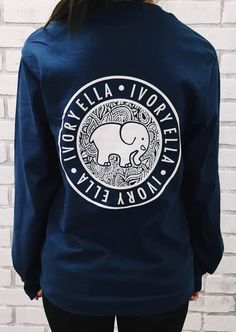Elephant Ivory Ella Print Pockets Cute Casual Sweatshirt
