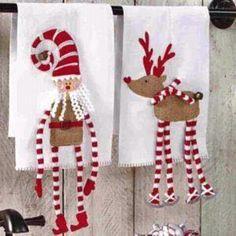 Mud Pie Christmas Sleigh Mates Dangle Leg Towel – Santa Or Reindeer 4404177 Christmas Makes, Christmas Art, Christmas Projects, Christmas Holidays, Christmas Ornaments, Christmas Christmas, Christmas Towels, Christmas Sewing, Christmas Knitting