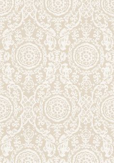 SANSOME, White on Linen, Collection Richmond from Thibaut wallpaper Textile Patterns, Print Patterns, Foyer Wallpaper, Matching Wallpaper, Victorian Cottage, Beautiful Textures, Pattern Wallpaper, Paint Colors, Printing On Fabric