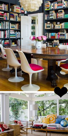 """Combination formal living room and library... transformed from stuffy and formal to bright and cheerful because they're """"real"""" books instead of leather-bound tomes... I kind of love this!"""