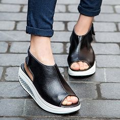 Buy plus size Fashion Shoes Summer Sandals Leather Flat Shoes Casual Shoes at Wish - Shopping Made Fun Black Wedge Sandals, Leather Sandals, Flat Sandals, Wedge Heels, Gladiator Sandals, Platform Shoes Heels, Flat Shoes, Women's Shoes, Shoes