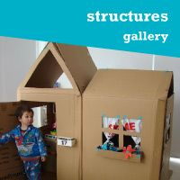 MAKEDO - connect cardboard boxes to make structures, vehicles, people, etc.