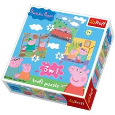3 In 1 Puzzle - Peppa Pig 3 puzzles in 3 images of Peppa Pig. Puzzles have 20 & 50 pieces. Each completed puzzle size x High quality, colour and styling ensures safety reflective calendared paper and use eco-friendly materials Ravensburger Puzzle, Peppa Pig, Logic Puzzles, Jigsaw Puzzles, Thick Cardboard, Wooden Pegs, Toddler Preschool, Puzzle Pieces, Toy Chest