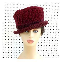 Aubergine Womens Crochet Hat by strawberrycouture  via Aubergine Crochet Hat Womens Hat Womens Crochet Hat Womens Fedora Hat Aubergine Hat ANDY Crochet Fedora Hat for Women Crochet Hat by strawberrycouture