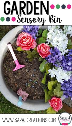 Love this cute Garden Sensory bin for preschool or even toddlers. Such a fun way to build fine motor and sensory skills while playing with flowers. Kindergarten Sensory, Preschool Themes, Preschool Learning, Fun Learning, Toddler Learning, Spring Activities, Sensory Activities, Sensory Play, Toddler Activities