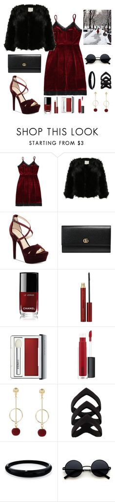 """#PolyPresents: Party Dresses"" by paulipive ❤ liked on Polyvore featuring Jessica Simpson, Gucci, Chanel, Kevyn Aucoin, Clinique, John Lewis, Alexis Bittar, contestentry and polyPresents"