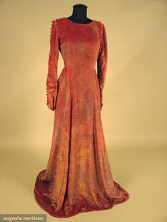 Augusta Auctions, October 2007 Vintage Clothing & Textile Auction, Lot 665: Unlabelled Gallenga Velvet Gown  Purse, 1920