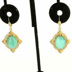 Vintage 14 Karat Yellow Gold Turquoise Drop Dangle Earrings Fine Estate Jewelry $649
