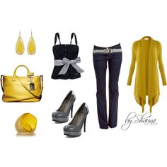 """""""Gray and Gold"""" by shauna-rogers on Polyvore"""