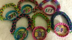 Check out this item in my Etsy shop https://www.etsy.com/ca/listing/209957760/rainbow-loom-bottle-cap-bracelets-bff
