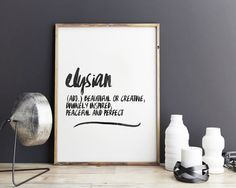Elysian - definition art, poster print, beauty and the beast by GiveMeMeaning on Etsy