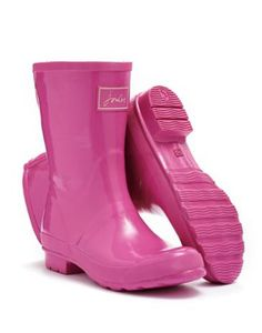 Joules Womens Welly, Parisian Pink.                     It's hard not to take a shine to our newest wellies. With a glossy finish and in a medium-height, they're great to keep close by when there's even the slightest chance of rain.