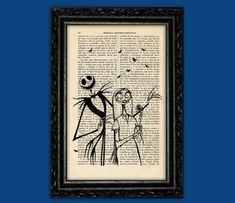 Jack Skellington and Sally Print - Halloween Nightmare Before Christmas Poster Book Art Dorm Room  Wall Decor Poster Art