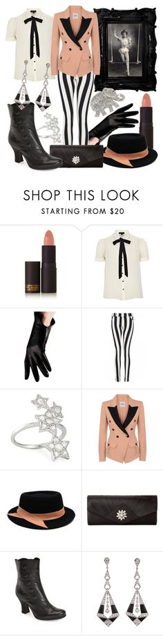 """""""The Ringmaster's Secret"""" by larkspurlane ❤ liked on Polyvore featuring Lipstick Queen, River Island, Urstadt.Swan, Quiz, Nigaam, Moschino Cheap & Chic, Ann-Marie Faulkner Millinery, Jessica McClintock, Miz Mooz and Carolee"""
