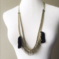 dd2632b0140ec Rebecca Minkoff necklace ✨✨ Antique gold two chain necklace with spikes and  black tassels. Only worn twice- in perfect condition!