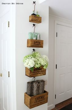 This is a neat idea... wall mounted crates in the kitchen eat-in area hold all of our most used tabletop items.