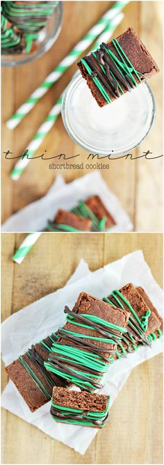 Thin Mint Shortbread Cookies