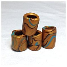 Gold Swirled Polymer Dread Beads by NoRulesBoutique on Etsy