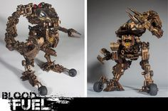 Blood Fuel Custom Mech Kit-bash, Custom Toy, Articulated Sculpture, Hand painted and weathered, Created and Designed by Caleb Prochnow, concept design, visual development