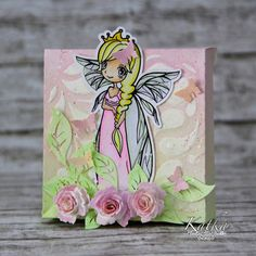Card designed by Katka for Little Blue Button Stamps using Princess Fairy.
