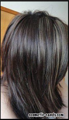 grey highlights in dark brown hair Dark Grey Hair, Ash Brown Hair, Silver Grey Hair, Dark Brown, White Blonde, Grey Wig, Black Hair, Hair Highlights And Lowlights, Colored Highlights
