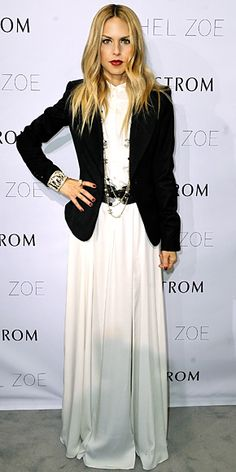Rachel Zoe maxi dress and blazer — great way to bring summer maxis into winter formal wear
