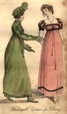 1815 Evening Dress of Crimson Sarsnet, short sleeves of black velvet, slashed with crimson, black fringe round the neck and bottom of the gown, black silk cord round the waist; ends rather long, with tassels....This is considered a most elegant and becoming dress; and is admirably adapted for this season of the year; and there can be no doubt will be justly appreciated by all our leading belles of fashion.