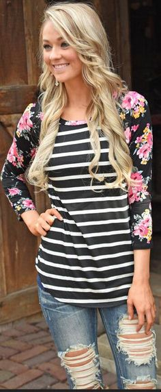07b0e680 Floral Print Sleeve Stripe Patchwork Irregular Long Sleeve Floral Stripe,  Floral Tops, Casual Tops