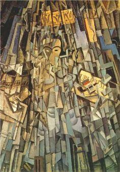 """Este cuadro de 1926 se llama """"cubista autorretrato"""". Dalí experimentó con el cubismo, cuando asistió a la Real Academia de Bellas Artes, y recibió mucha atención de sus compañeros de clase. Su cubismo fue influenciado por Pablo Picasso."""