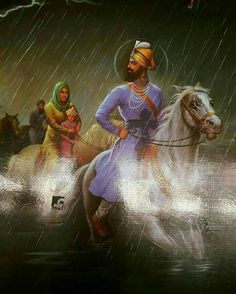 Guru Gobind leading his family to safety. Guru Angad Dev Ji, Baba Deep Singh Ji, Guru Tegh Bahadur, Shri Guru Granth Sahib, Guru Pics, Guru Gobind Singh, Religious Photos, Radha Krishna Wallpaper, Exotic Art