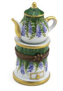 Teapot on Stand -Purple Flowers- Box