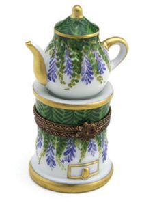 Teapot on Stand -Purple Flowers- Box
