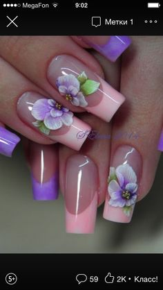 Classy Nails, Fancy Nails, Cute Nails, Pretty Nails, 3d Nail Designs, Flower Nail Designs, Colorful Nail Designs, Pearl Nails, Rhinestone Nails