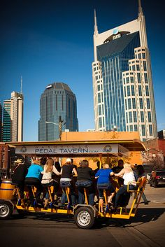 Hop on this 16-person bicycle powered party on wheels and experience Nashville's bar scene in a fun and unique way! #OneofaKindNashville