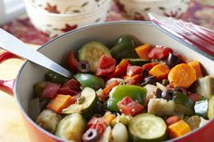 Ratatouille (serves 4 with leftovers) is so versatile that you can use our ingredients here or substitute what you have on hand. Serve it alone or over pasta, polenta, or rice—or satisfy meat lovers by adding a piece of protein. It keeps for days, too. Make a double batch and use leftovers later in the week to serve with grilled fish.    Part of the Swedish Healthy Recipes collection (heart healthy, recipe, dinner).