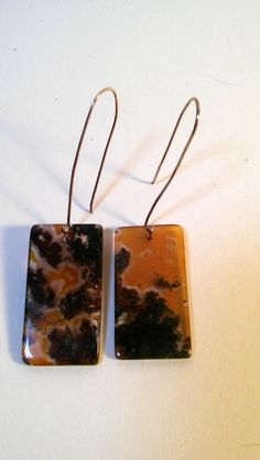 """Handmade earrings with mottled black and brown agate rectangular translucent beads. 1/2 inch wide, and hangs down 1 1/2"""". Unique. Unusual. #etsy"""