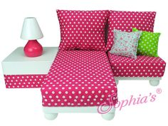 This 11 piece furniture set includes a White Wooden Chaise Lounge, Chair, Ottoman, and Lamp. Comes with polka dot cushions and 2 throw pillows. Ball feet create a designer look. This versatile set can