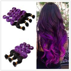 "83.70$  Know more  - ""3pcs/lot 10""""-28"""" Ombre Purple Brazilian Hair Body Wave Two Tone Color Purple Brazilian Hair Ombre Purple Human Hair"""