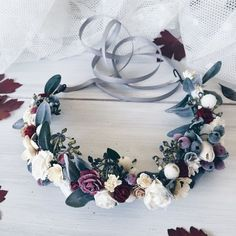 Winter wedding crown, Bridal crown, Rustic hair wreath, Winter wedding accessorize, floral crown, flower crown, Woodland Crown