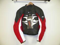 MEN'S HEIN GERICKE BLACK RED WHITE LEATHER MOTORCYCLE JACKET SZ 54 EXCELLENT CON #HEINGERICKE #MOTORCYCLEJACKET