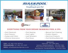 Riaan Pool Equipment  Everythings from your dream swimming pool and spa  • Pool Chemicals • Pool Cleaners • Pumps and Filters • Chlorine Generators • Pool Heating • Pool Lights • Leaf Skimmers • Pool Hoses and more..   CALL +27 (82) 374 1674 or  Alternatively +27 (66) 472 2291 EMAIL info@hyperpoolgroup.co.za  BRANCHES Edenvale - 011 609 3836 Junxion (Vanderbijlpark) - 016 932 1062 Three Rivers(Vereeniging) - 016 423 3966 Distribution (Vanderbijlpark) - 016 933 5050  www.hyperpoolgroup.co.za Pool Chemicals, Pool Equipment, Building A Pool, Three Rivers, Heated Pool, Pool Cleaning, Building Materials, Swimming Pools, Dreaming Of You