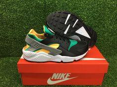 eab3261f29522 Nike air huarache run new sneakers men s shoes black white emerald  318429-018